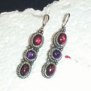 Vintage Mexican Amethyst & Garnet sterling earring